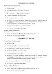 English Worksheet: Personal Letter Writing
