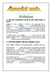 English Worksheet: about pollution and global warming