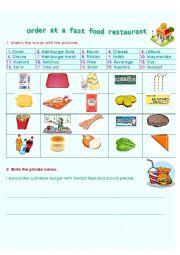 English Worksheet: Order at a fast food restaurant