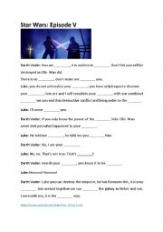 English Worksheet: Luke I am your father, Star Wars, missing words
