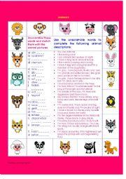 English Worksheet: ANIMAL DESCRIPTIONS