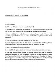 English Worksheet: Dr. Jekyll and Mr. Hyde Chapter 2 worksheet