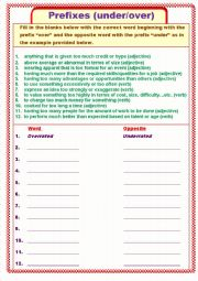 English Worksheet: Prefixes with under and over