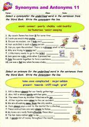 Synonyms vs Antonyms 11