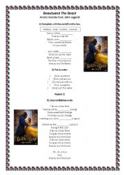 English Worksheet: Beauty and The Beast - Song Activity