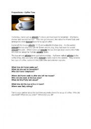 English Worksheet: Prepositions - Coffee Time