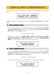 English Worksheet: 0 (ZERO) & FIRST CONDITIONALS