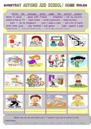 English Worksheet: Everyday actions : school and home rules