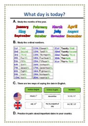 English Worksheet: What day is today?
