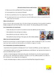 English Worksheet: Discussion about heroes and heroines