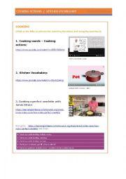 English Worksheet: COOKING VIDEOS