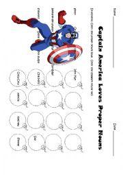 English Worksheet: Captain America Loves Proper Nouns