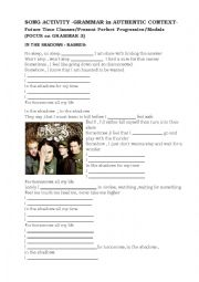 English Worksheet: Present Perfect Cont.Song Activity-IN THE SHADOWS -RASMUS