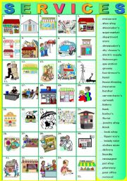 English Worksheet: SERVICES.  Matching  (A to Z)