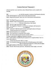 English worksheet: HAWAII HISTORY TIMELINE- PAIRWORK
