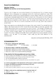 English worksheet: An exam about a  racist chinese advert exam for 3 as Algerian syllable