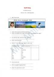 English Worksheet: earth song (save the planet)