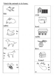English Worksheet: Match the animals to its home.