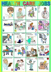English Worksheet: HEALTH CARE JOBS. Pictionary. (A to Z)