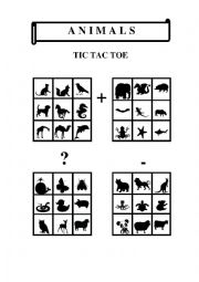 English Worksheet: Tic Tac Toe - Animals