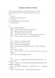 English Worksheet: Dealing with Complaints in a Restaurant