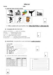 English Worksheet: TEST: LOKE/NOT LIKE + ING-ACTIVITIES-PLAY,GO,DO.
