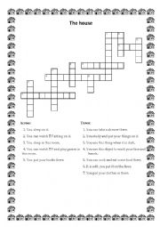 English Worksheet: The House - crossword for the beginners