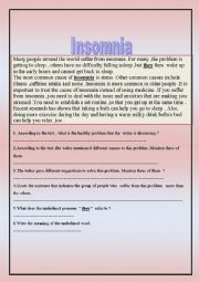 English worksheet: Insomnia