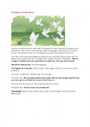 English worksheet:  The pigeon and the mouse