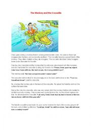 English worksheet: The monkey and the crocodile