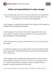 English worksheet: Responsiblities of a sales manager