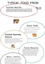 English Worksheet: TYPICAL FOOD FROM AROUND THE WORLD