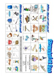 Vocabulary - activities / objects needed to survive on an island