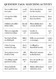 English Worksheet: Question Tags: Matching activity