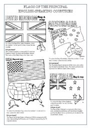 English Worksheet: ENGLISH SPEAKING COUNTRIES FLAGS TO COLOUR