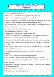 English Worksheet: Much, many, little, few