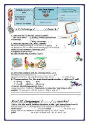 English Worksheet: Mid-term test n°1