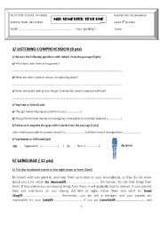 English worksheet: mid semester test 1 9th form pilot school