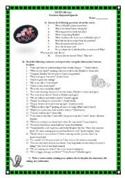 English worksheet: HUSH Movie Worksheet