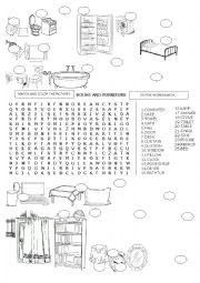 English worksheet: WORDSEARCH HOUSE AND FURNITURE