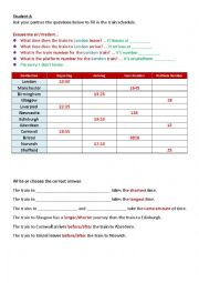 English worksheet: Asking for information - Train Times communication activity with comparatives