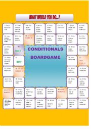English Worksheet: What would you do if....? Conditional board game