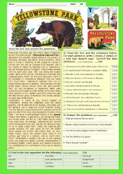 English Worksheet: Yellowstone Park - Reading Comprehension + KEY