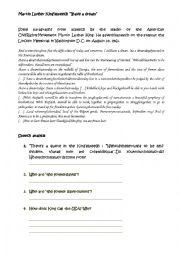 English Worksheet: I have a dream by Martin Luther King
