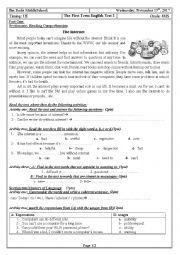 English Worksheet: Internet Addiction 4MS