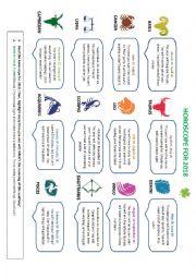 English Worksheet: Horoscope for 2018