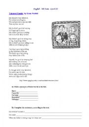 English Worksheet: Talented family (poem)