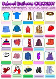 English Worksheet: School Uniform Checklist + KEY
