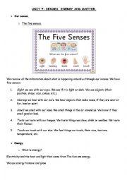 English Worksheet: senses, energy and matter