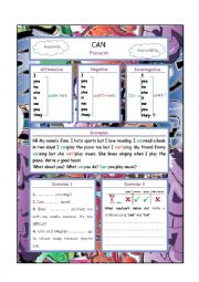 English Worksheet: Can-Graffiti Style Grammar Guide